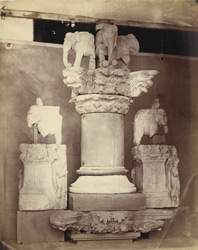Base of pillar, Indo-Corinthian capitals and elephants from base of stupa, and other architectural fragments, Jarwal-Garhi